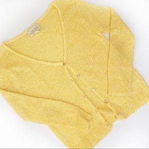 Cache Yellow Eyelash Button-up Cardigan